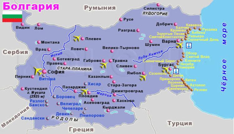 karta Bolgarii s gorodami